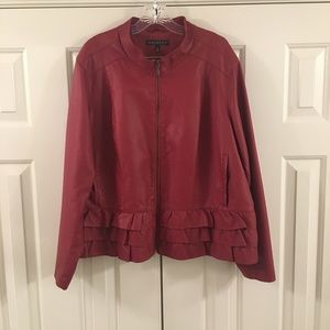 Baccini Red Ruffle Faux Leather Jacket